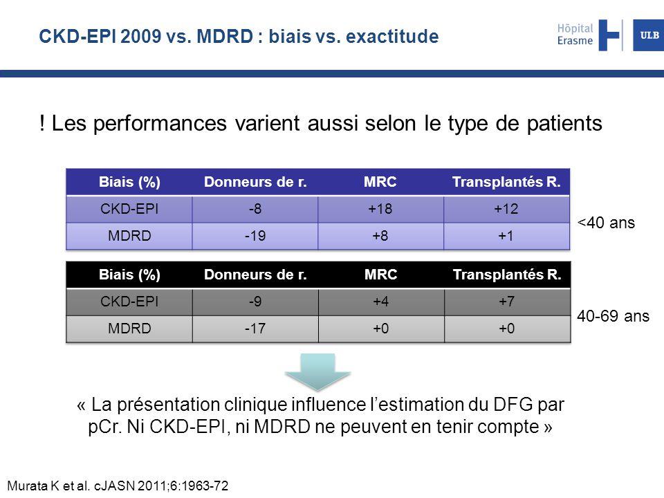 CKD-EPI 2009 vs.MDRD : biais vs. exactitude .