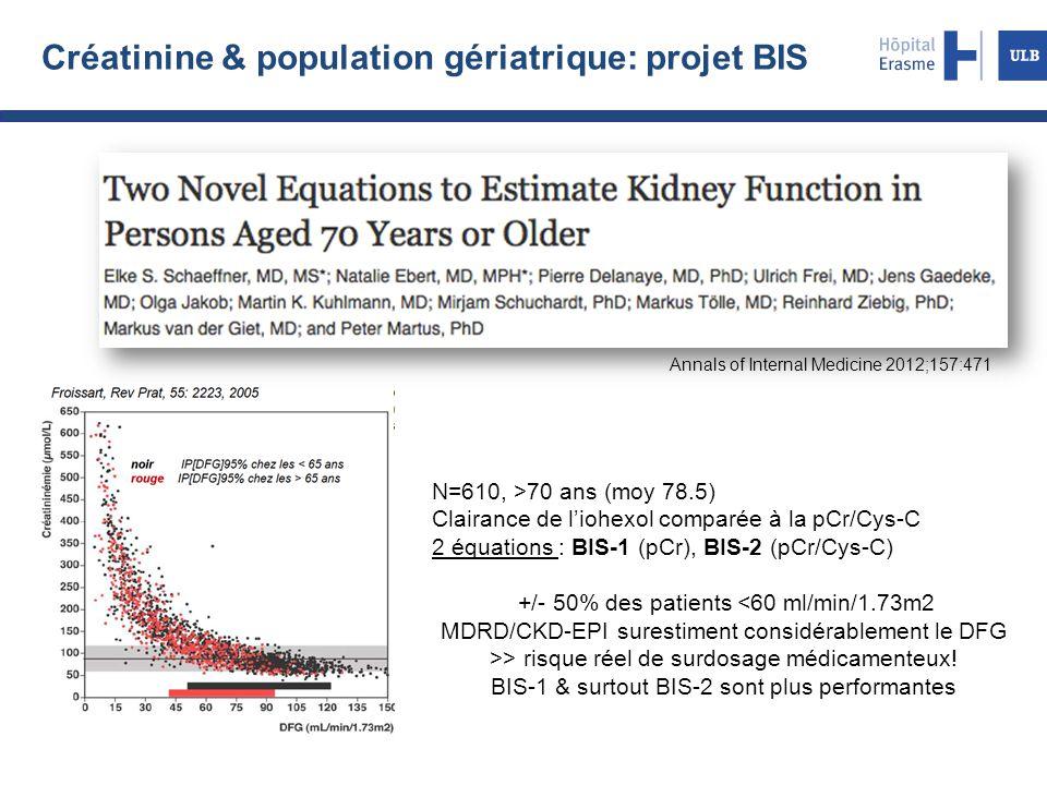 Créatinine & population gériatrique: projet BIS N=610, >70 ans (moy 78.5) Clairance de l'iohexol comparée à la pCr/Cys-C 2 équations : BIS-1 (pCr), BI