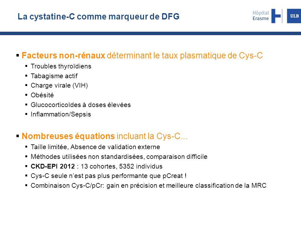 La cystatine-C comme marqueur de DFG  Facteurs non-rénaux déterminant le taux plasmatique de Cys-C  Troubles thyroïdiens  Tabagisme actif  Charge