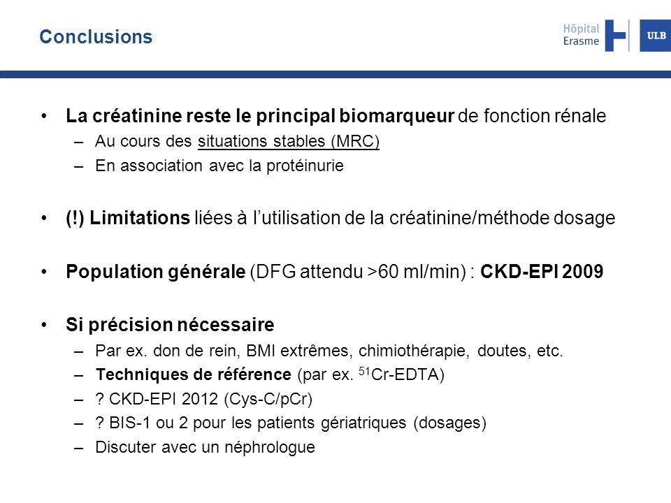 Conclusions La créatinine reste le principal biomarqueur de fonction rénale –Au cours des situations stables (MRC) –En association avec la protéinurie