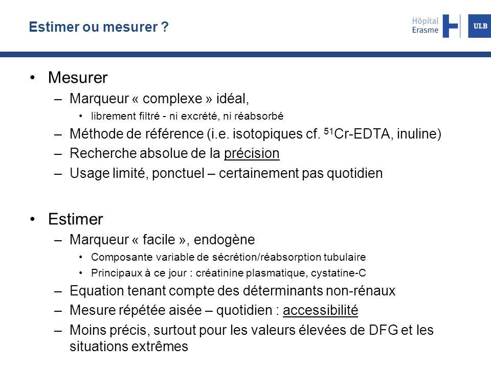 Estimer ou mesurer ? Mesurer –Marqueur « complexe » idéal, librement filtré - ni excrété, ni réabsorbé –Méthode de référence (i.e. isotopiques cf. 51