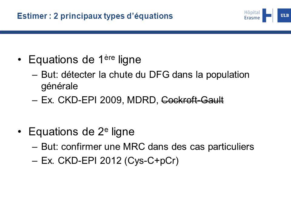 Estimer : 2 principaux types d'équations Equations de 1 ère ligne –But: détecter la chute du DFG dans la population générale –Ex. CKD-EPI 2009, MDRD,