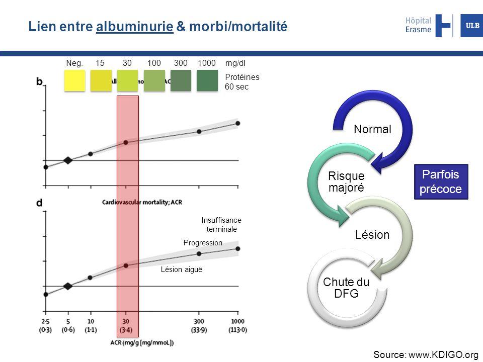 Lien entre albuminurie & morbi/mortalité Source: www.KDIGO.org Normal Risque majoré Lésion Chute du DFG Protéines 60 sec Neg.15301003001000mg/dl Insuf