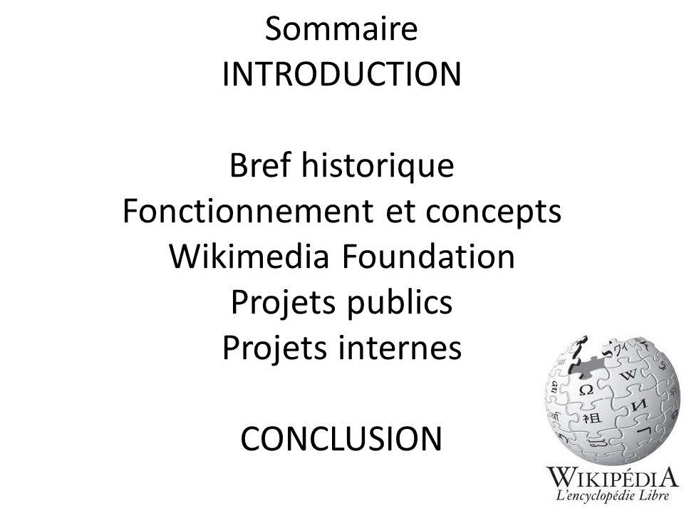 Sommaire INTRODUCTION Bref historique Fonctionnement et concepts Wikimedia Foundation Projets publics Projets internes CONCLUSION