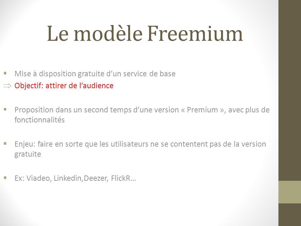 Le modèle Freemium  Mise à disposition gratuite d'un service de base  Objectif: attirer de l'audience  Proposition dans un second temps d'une version « Premium », avec plus de fonctionnalités  Enjeu: faire en sorte que les utilisateurs ne se contentent pas de la version gratuite  Ex: Viadeo, Linkedin,Deezer, FlickR…