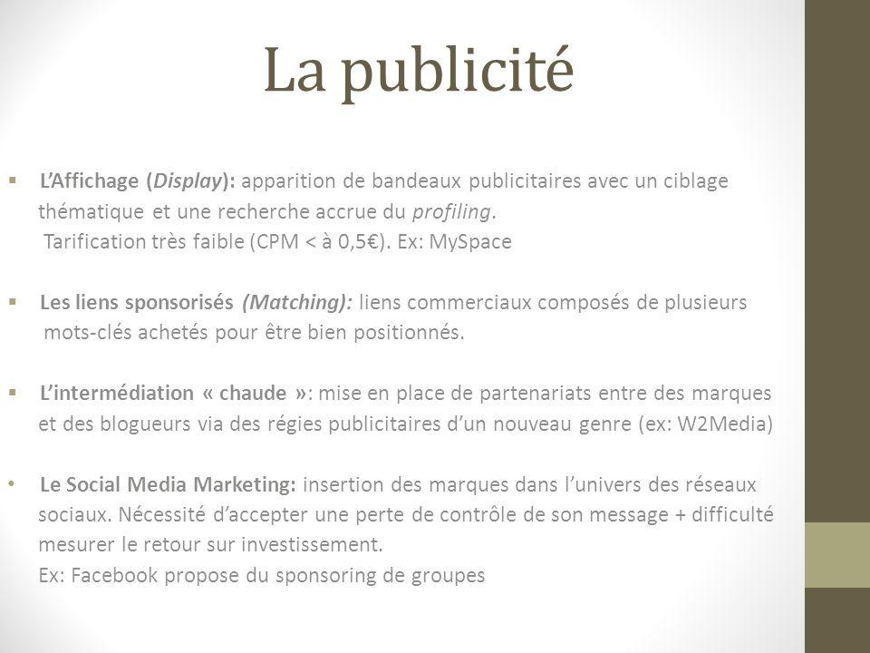 La publicité  L'Affichage (Display): apparition de bandeaux publicitaires avec un ciblage thématique et une recherche accrue du profiling.