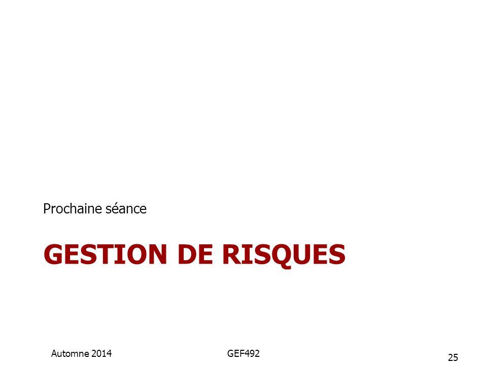 GESTION DE RISQUES Prochaine séance 25 Automne 2014GEF492
