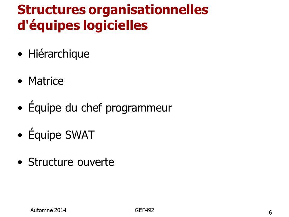 Structures organisationnelles d équipes logicielles Hiérarchique Matrice Équipe du chef programmeur Équipe SWAT Structure ouverte 6 Automne 2014GEF492