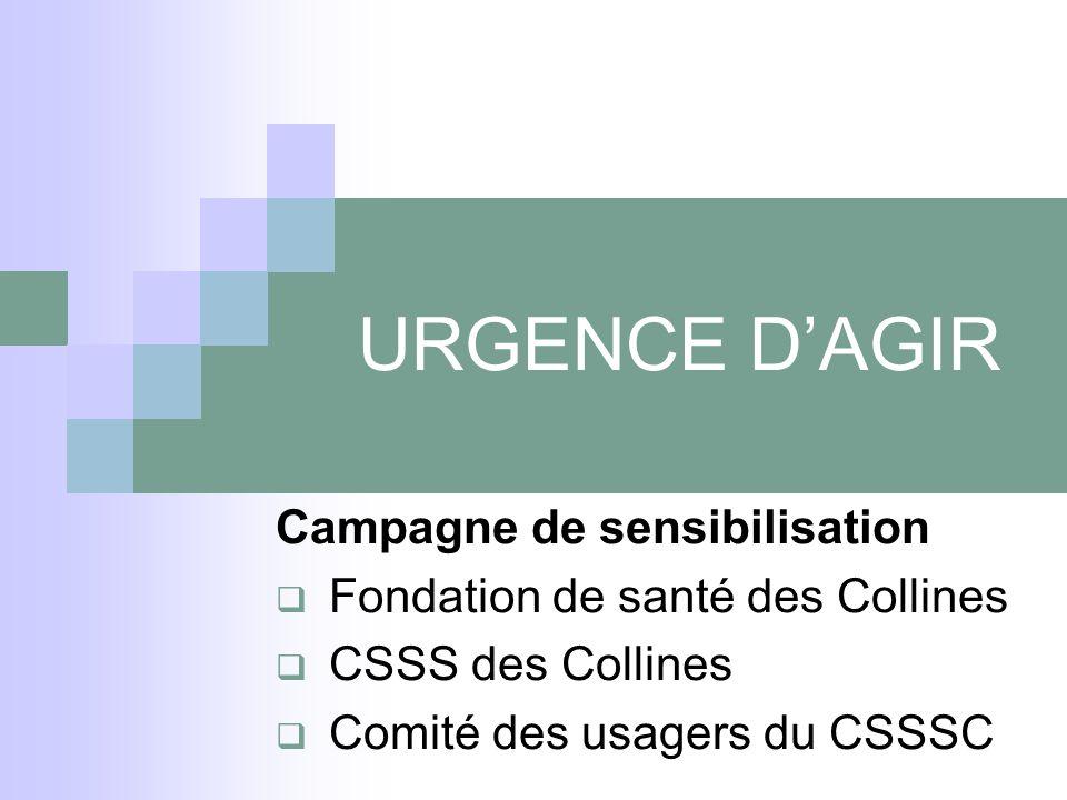 URGENCE D'AGIR Campagne de sensibilisation  Fondation de santé des Collines  CSSS des Collines  Comité des usagers du CSSSC