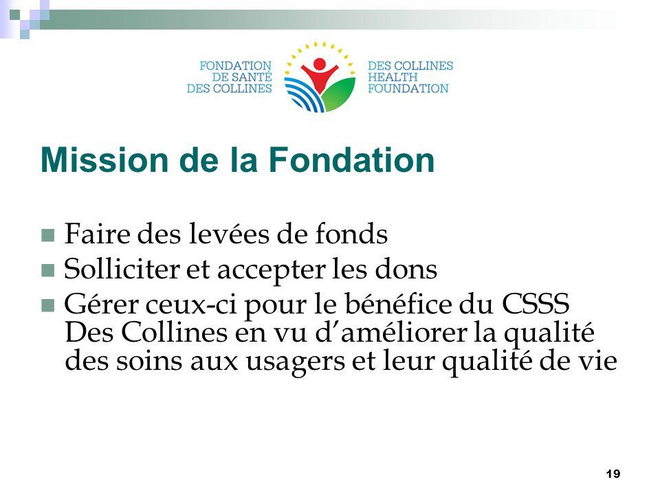 Mission de la Fondation Faire des levées de fonds Solliciter et accepter les dons Gérer ceux-ci pour le bénéfice du CSSS Des Collines en vu d'améliorer la qualité des soins aux usagers et leur qualité de vie 19