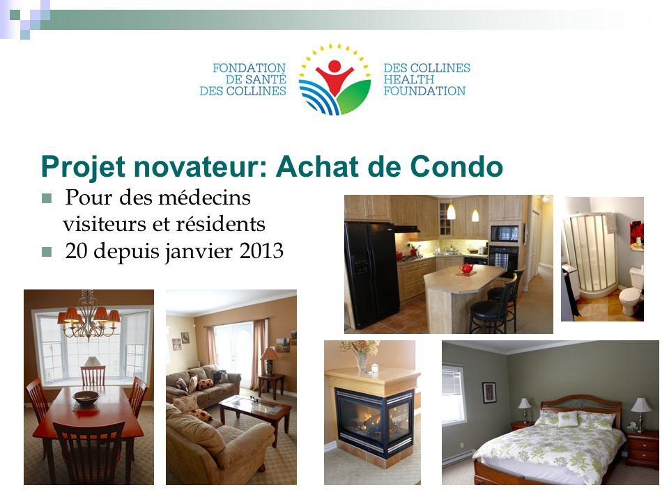 Projet novateur: Achat de Condo Pour des médecins visiteurs et résidents 20 depuis janvier 2013 24