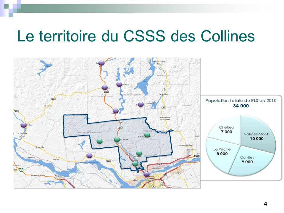 Le territoire du CSSS des Collines 4