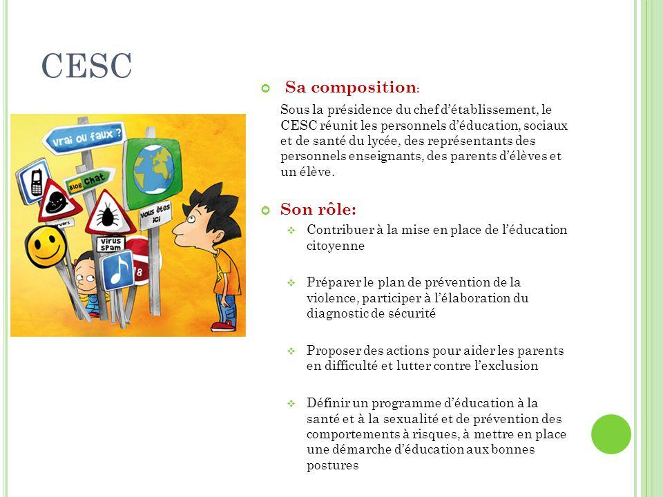 CESC Sa composition : Sous la présidence du chef d'établissement, le CESC réunit les personnels d'éducation, sociaux et de santé du lycée, des représe