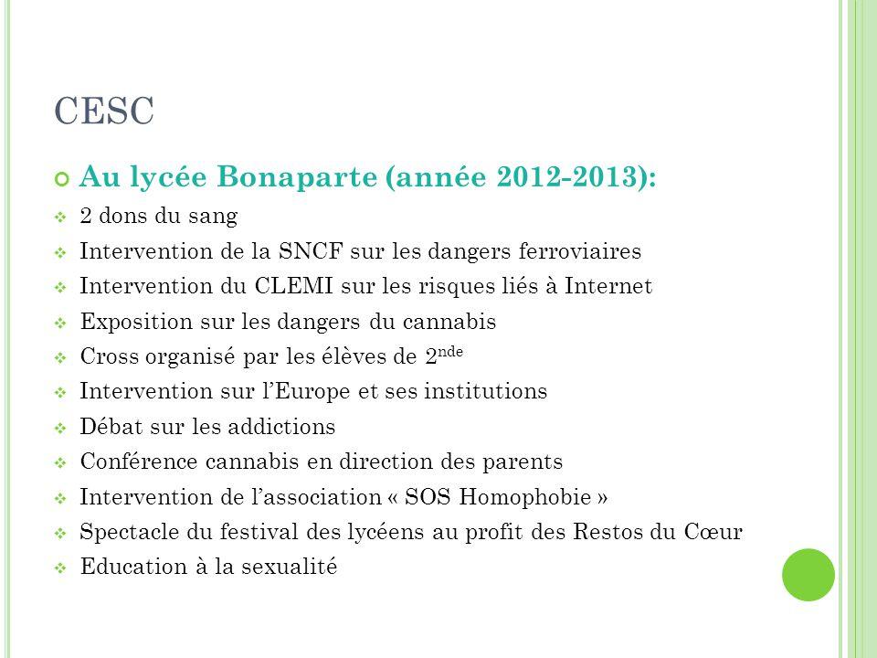 CESC Au lycée Bonaparte (année 2012-2013):  2 dons du sang  Intervention de la SNCF sur les dangers ferroviaires  Intervention du CLEMI sur les ris