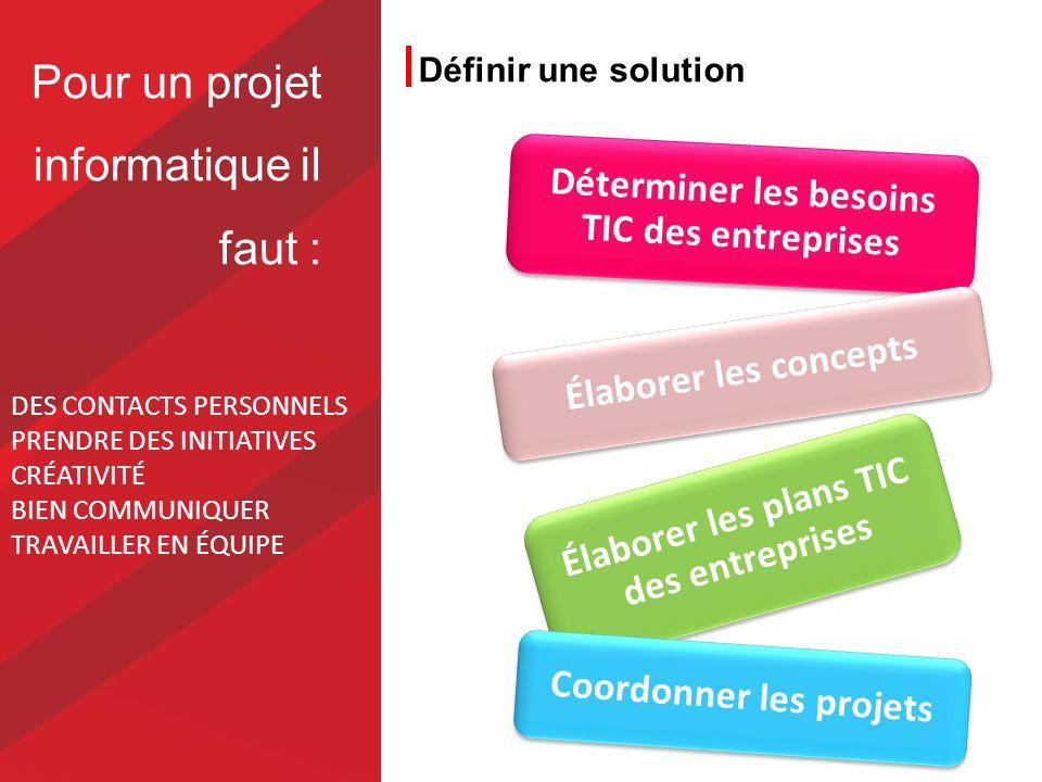 Définir une solution Élaborer les plans TIC des entreprises Déterminer les besoins TIC des entreprises Coordonner les projets Élaborer les concepts DE