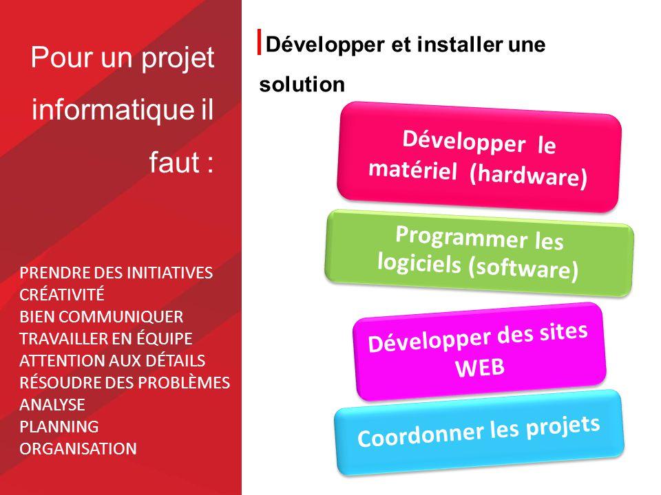 Développer et installer une solution Développer le matériel (hardware) Programmer les logiciels (software) Coordonner les projets Développer des sites