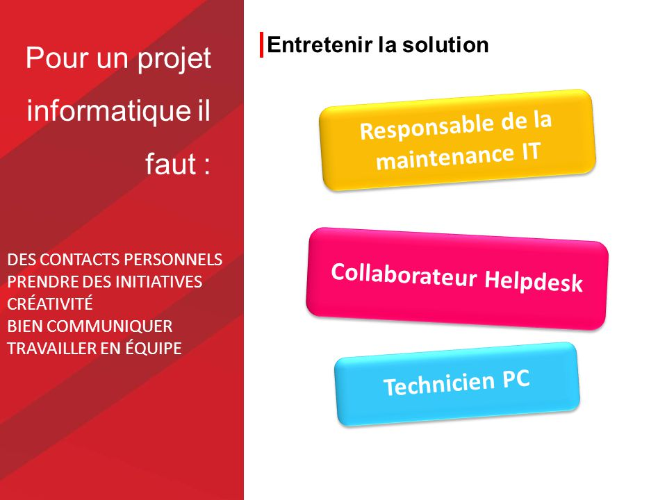 Entretenir la solution Technicien PC Responsable de la maintenance IT Collaborateur Helpdesk Pour un projet informatique il faut : DES CONTACTS PERSONNELS PRENDRE DES INITIATIVES CRÉATIVITÉ BIEN COMMUNIQUER TRAVAILLER EN ÉQUIPE