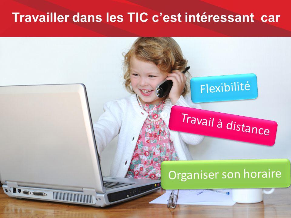 Travailler dans les TIC c'est intéressant car Flexibilité Travail à distance Organiser son horaire