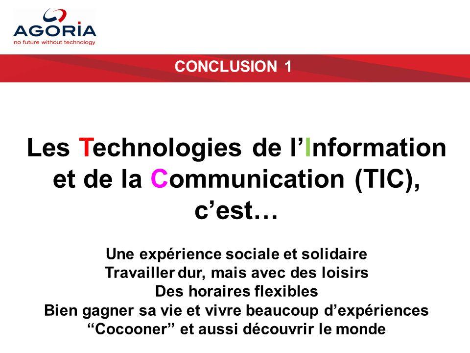 CONCLUSION 1 Les Technologies de l'Information et de la Communication (TIC), c'est… Une expérience sociale et solidaire Travailler dur, mais avec des