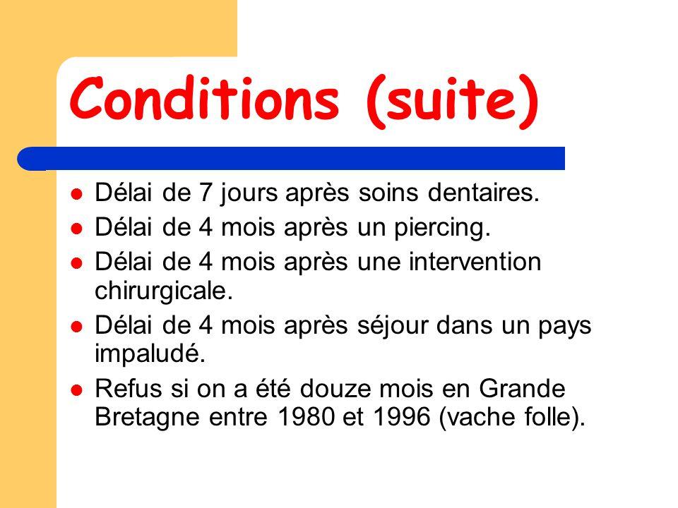 Conditions (suite) Délai de 7 jours après soins dentaires.