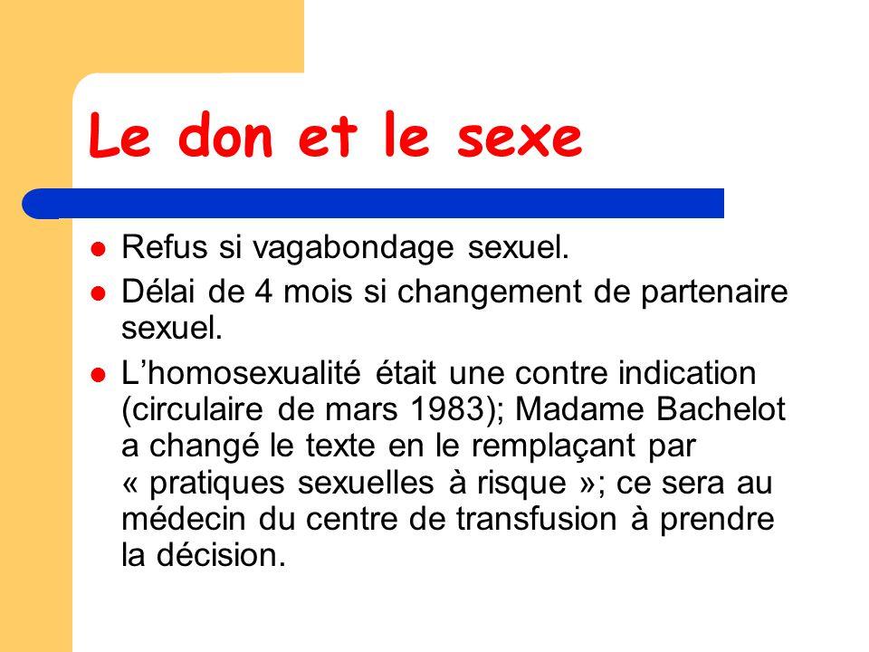 Le don et le sexe Refus si vagabondage sexuel.Délai de 4 mois si changement de partenaire sexuel.