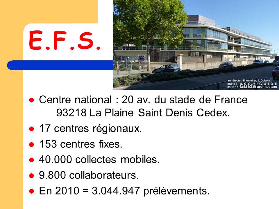 E.F.S.Centre national : 20 av. du stade de France 93218 La Plaine Saint Denis Cedex.