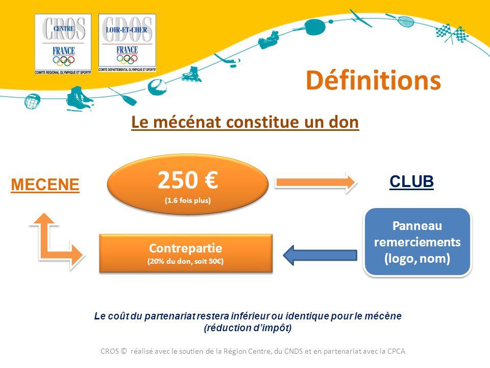 Définitions CROS © réalisé avec le soutien de la Région Centre, du CNDS et en partenariat avec la CPCA Le mécénat constitue un don MECENE CLUB 250 € (