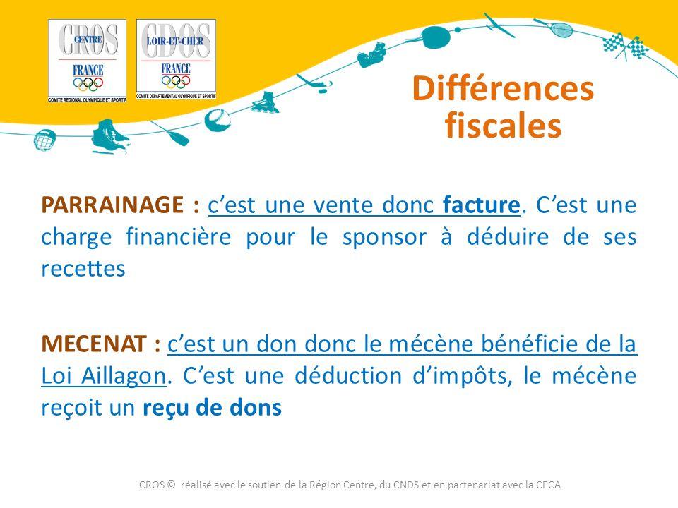 Différences fiscales PARRAINAGE : c'est une vente donc facture. C'est une charge financière pour le sponsor à déduire de ses recettes MECENAT : c'est