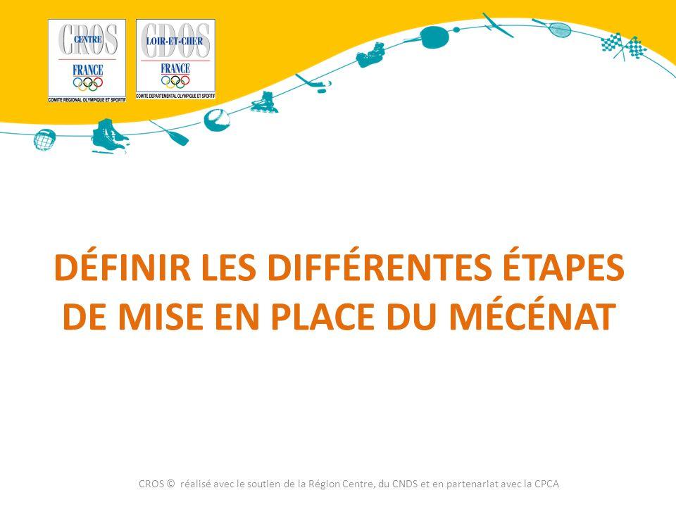 DÉFINIR LES DIFFÉRENTES ÉTAPES DE MISE EN PLACE DU MÉCÉNAT CROS © réalisé avec le soutien de la Région Centre, du CNDS et en partenariat avec la CPCA