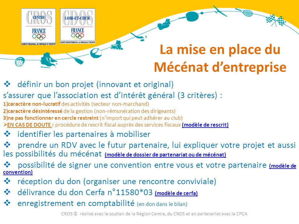 La mise en place du Mécénat d'entreprise  définir un bon projet (innovant et original) s'assurer que l'association est d'intérêt général (3 critères)