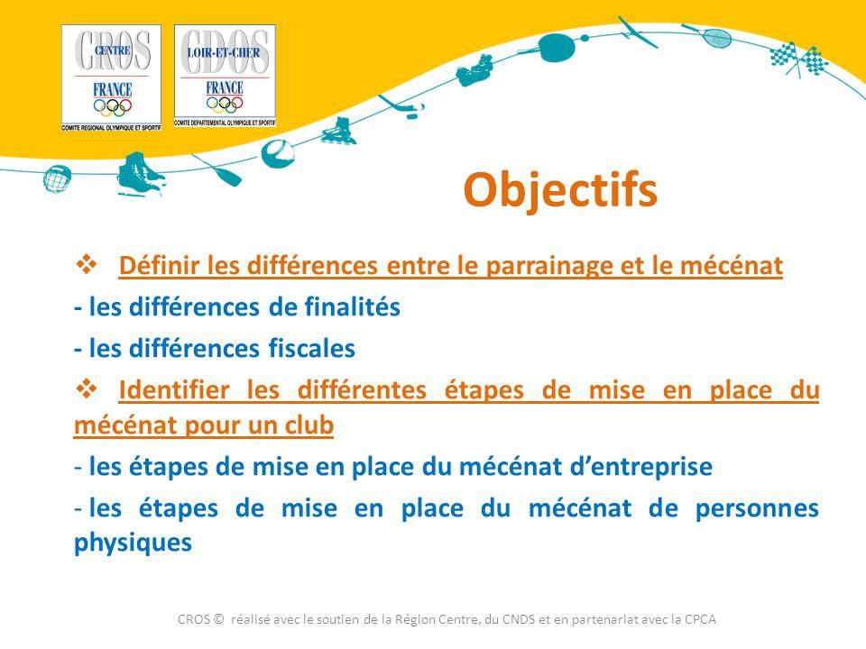 Objectifs  Définir les différences entre le parrainage et le mécénat - les différences de finalités - les différences fiscales  Identifier les diffé