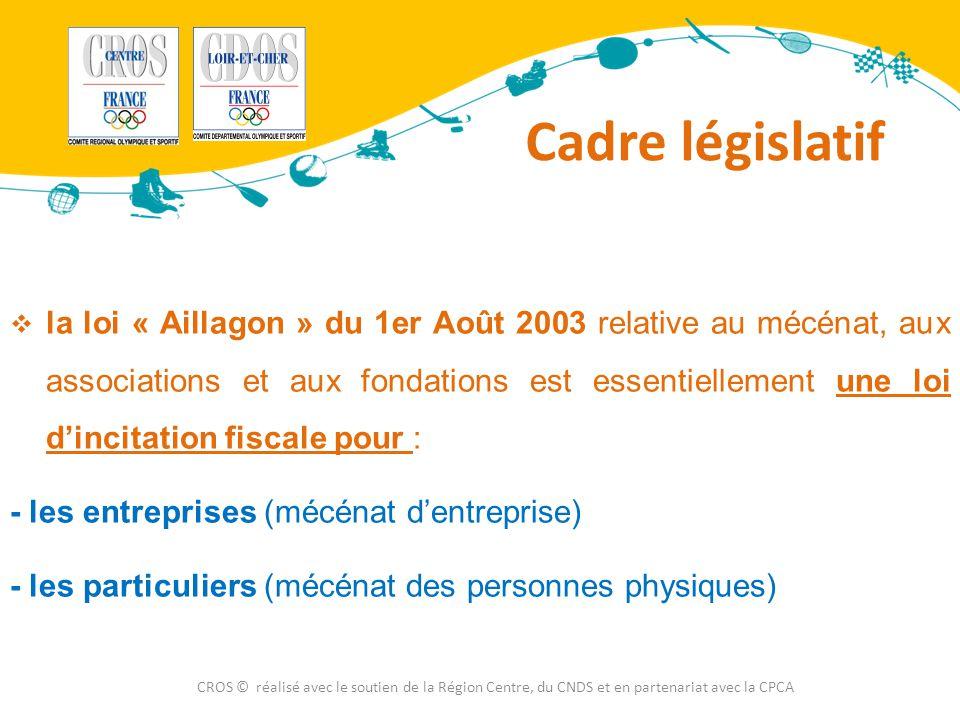 Cadre législatif CROS © réalisé avec le soutien de la Région Centre, du CNDS et en partenariat avec la CPCA  la loi « Aillagon » du 1er Août 2003 rel