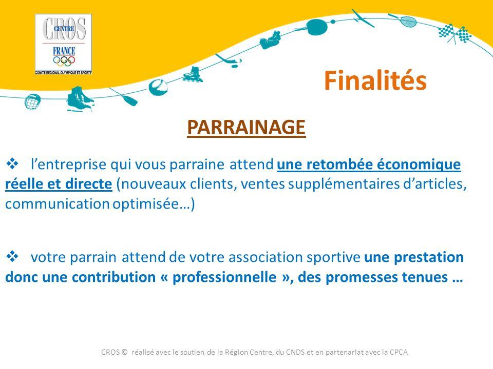 Définitions CROS © réalisé avec le soutien de la Région Centre, du CNDS et en partenariat avec la CPCA Quelles différences entre mécénat et parrainage (ou sponsoring) .