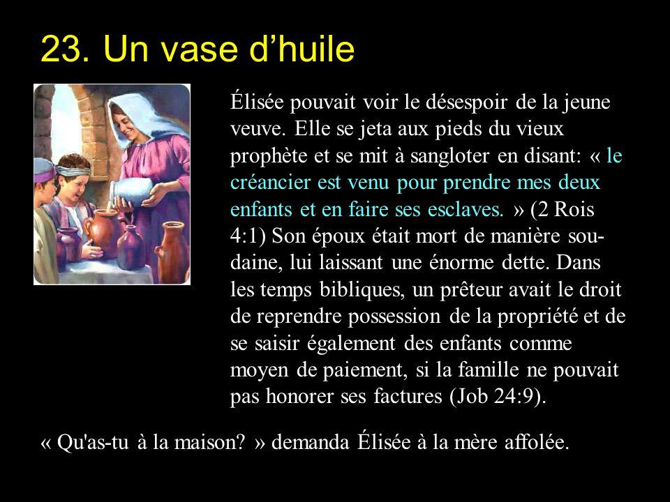 « Ta servante n a rien du tout à la maison, qu un vase d huile » répondit-elle (2 Rois 4:2).