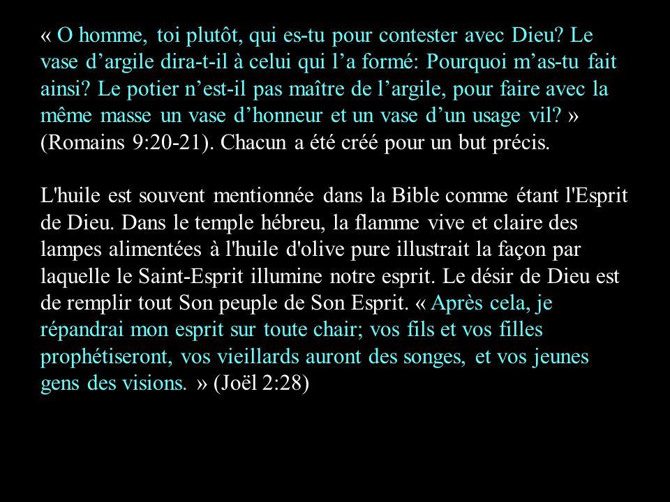 « O homme, toi plutôt, qui es-tu pour contester avec Dieu? Le vase d'argile dira-t-il à celui qui l'a formé: Pourquoi m'as-tu fait ainsi? Le potier n'