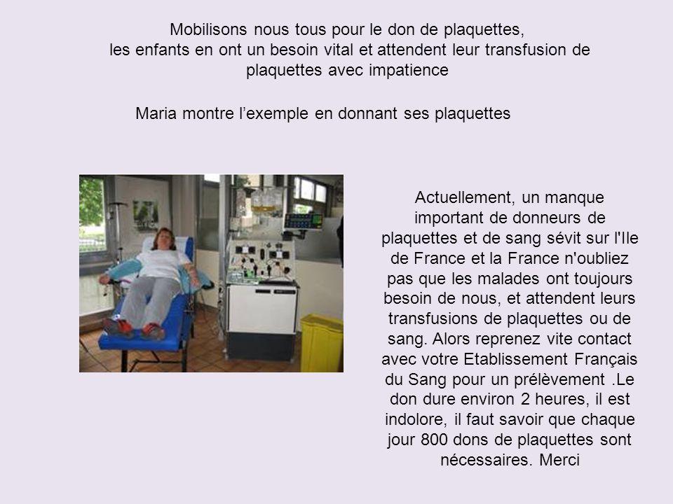 Maria montre l'exemple en donnant ses plaquettes Actuellement, un manque important de donneurs de plaquettes et de sang sévit sur l Ile de France et la France n oubliez pas que les malades ont toujours besoin de nous, et attendent leurs transfusions de plaquettes ou de sang.