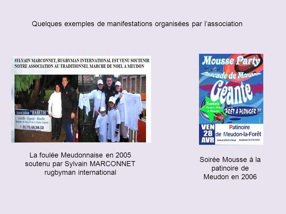 Quelques exemples de manifestations organisées par l'association La foulée Meudonnaise en 2005 soutenu par Sylvain MARCONNET rugbyman international Soirée Mousse à la patinoire de Meudon en 2006