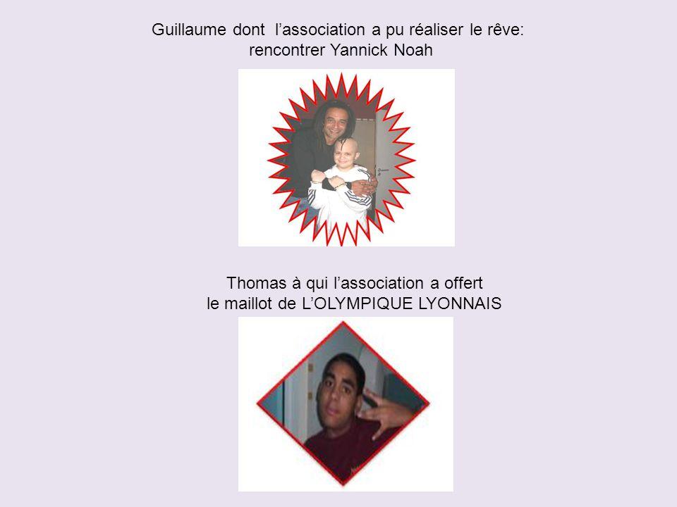 Guillaume dont l'association a pu réaliser le rêve: rencontrer Yannick Noah Thomas à qui l'association a offert le maillot de L'OLYMPIQUE LYONNAIS