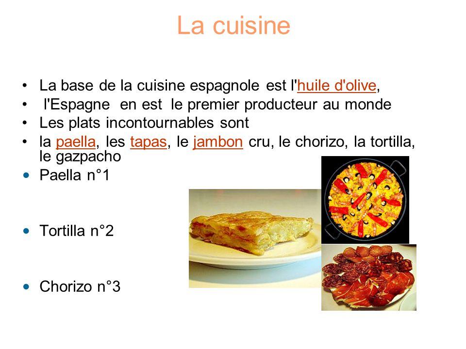 La cuisine La base de la cuisine espagnole est l'huile d'olive,huile d'olive l'Espagne en est le premier producteur au monde Les plats incontournables