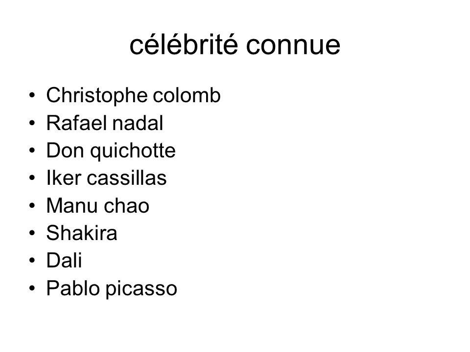 célébrité connue Christophe colomb Rafael nadal Don quichotte Iker cassillas Manu chao Shakira Dali Pablo picasso