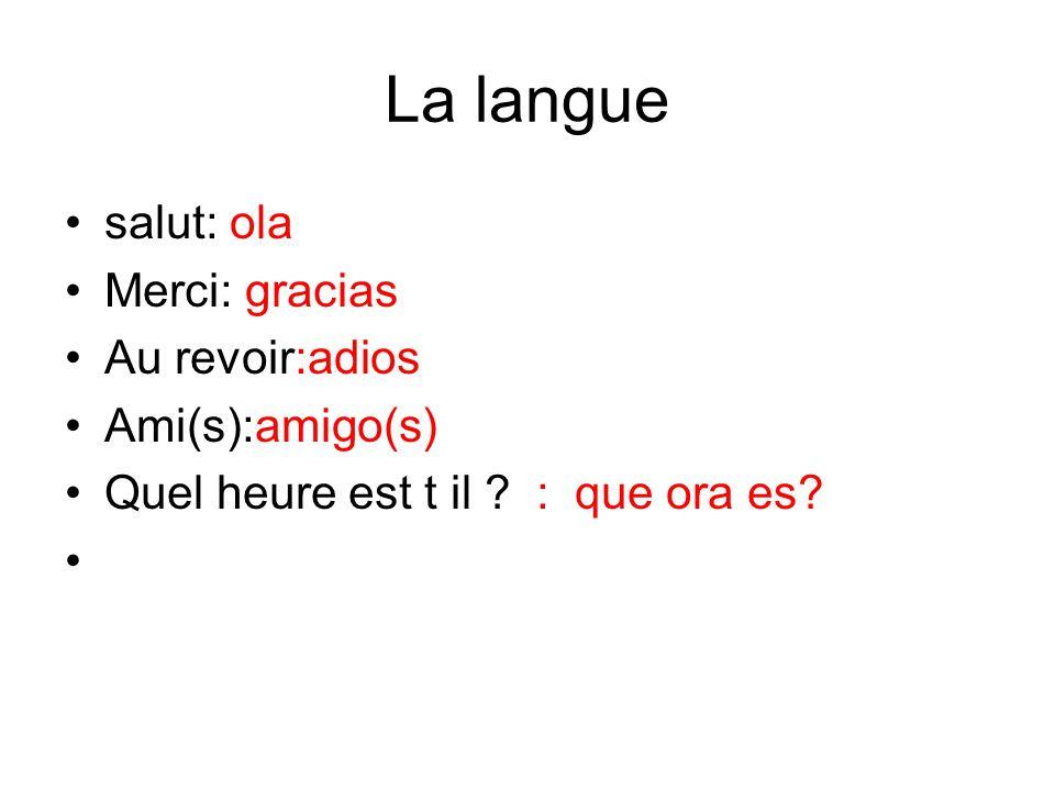 La langue salut: ola Merci: gracias Au revoir:adios Ami(s):amigo(s) Quel heure est t il ? : que ora es?