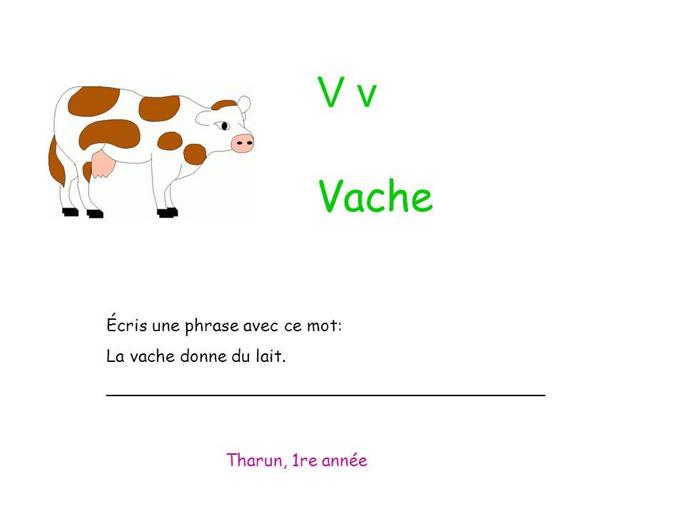 V v Écris une phrase avec ce mot: La vache donne du lait. _________________________________________ Tharun, 1re année Vache