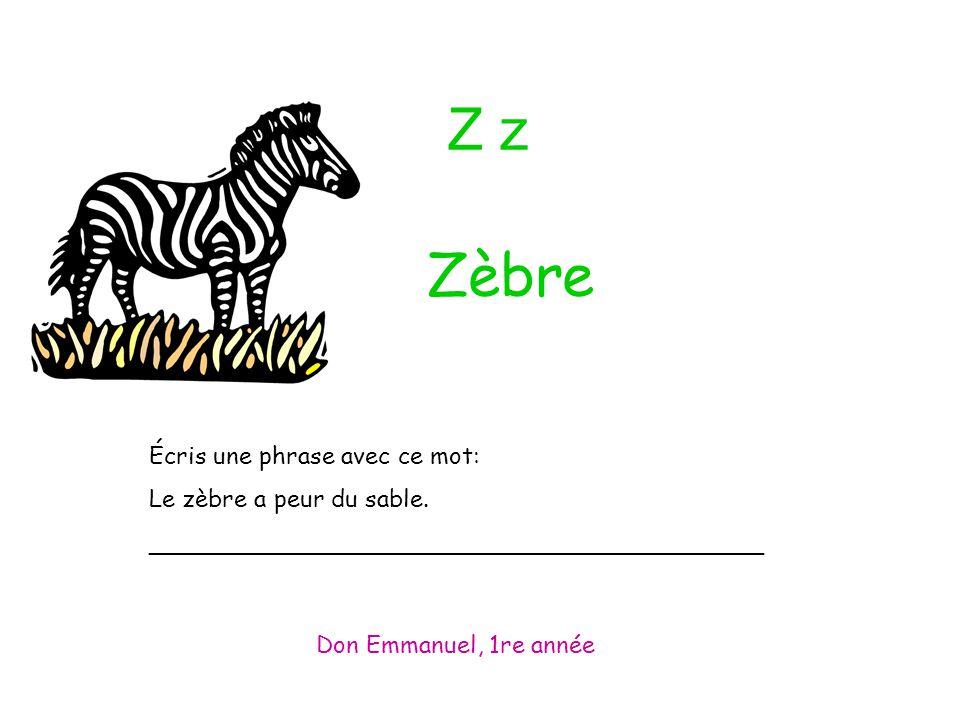 Z z Écris une phrase avec ce mot: Le zèbre a peur du sable.