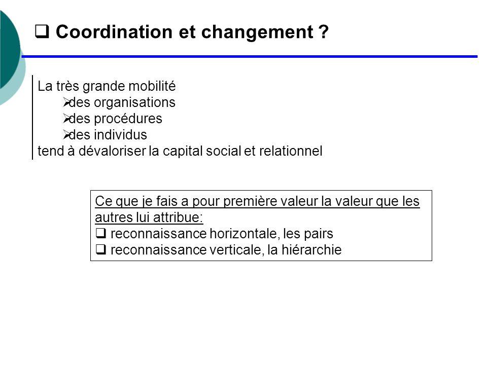  Coordination et changement ? La très grande mobilité  des organisations  des procédures  des individus tend à dévaloriser la capital social et re