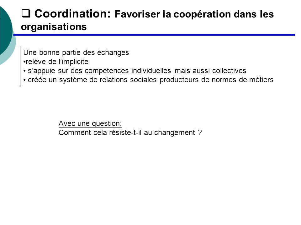 Coordination: Favoriser la coopération dans les organisations Une bonne partie des échanges relève de l'implicite s'appuie sur des compétences indiv