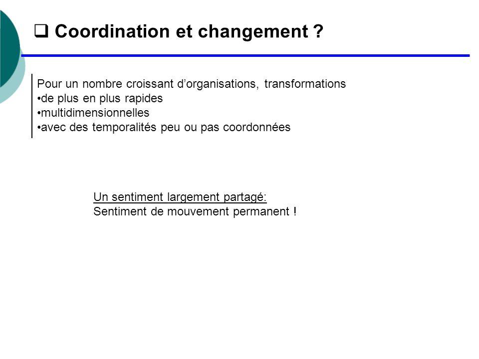  Coordination et changement ? Pour un nombre croissant d'organisations, transformations de plus en plus rapides multidimensionnelles avec des tempora
