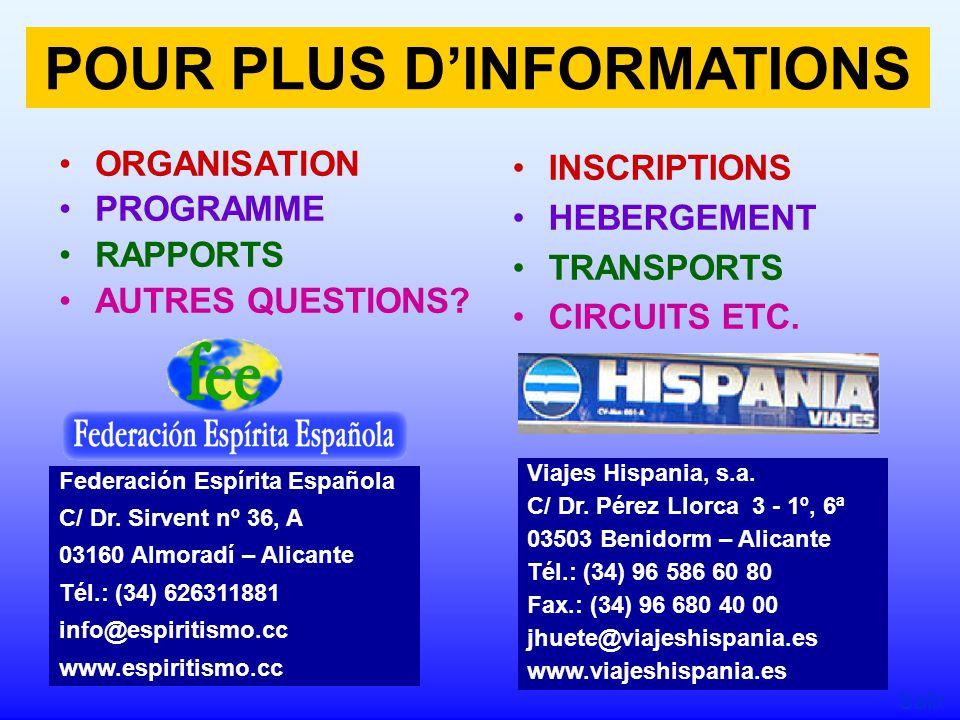 ORGANISATION PROGRAMME RAPPORTS AUTRES QUESTIONS.INSCRIPTIONS HEBERGEMENT TRANSPORTS CIRCUITS ETC.