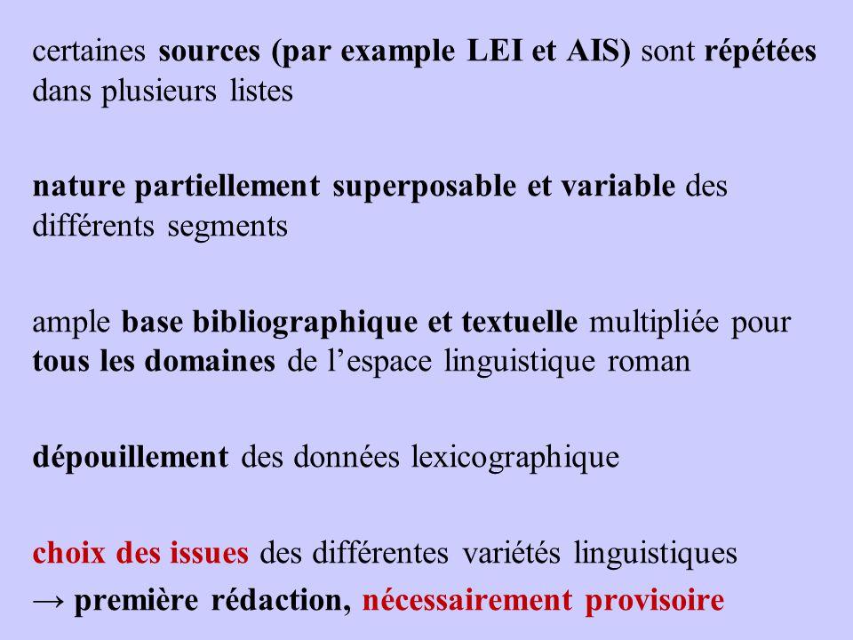 certaines sources (par example LEI et AIS) sont répétées dans plusieurs listes nature partiellement superposable et variable des différents segments a