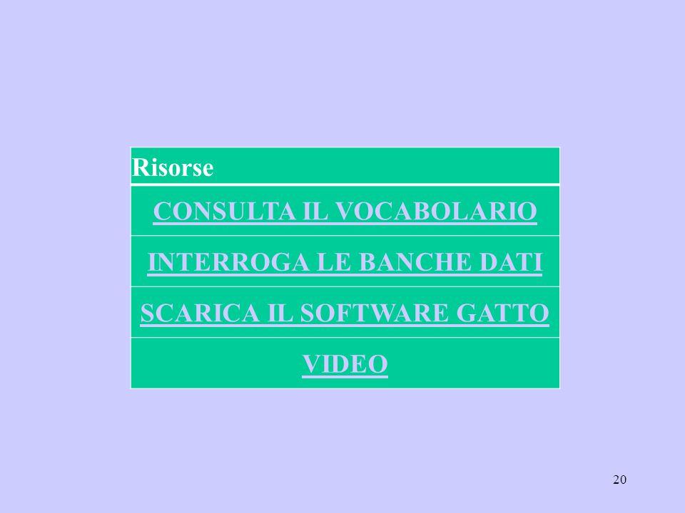 Risorse CONSULTA IL VOCABOLARIO INTERROGA LE BANCHE DATI SCARICA IL SOFTWARE GATTO VIDEO 20