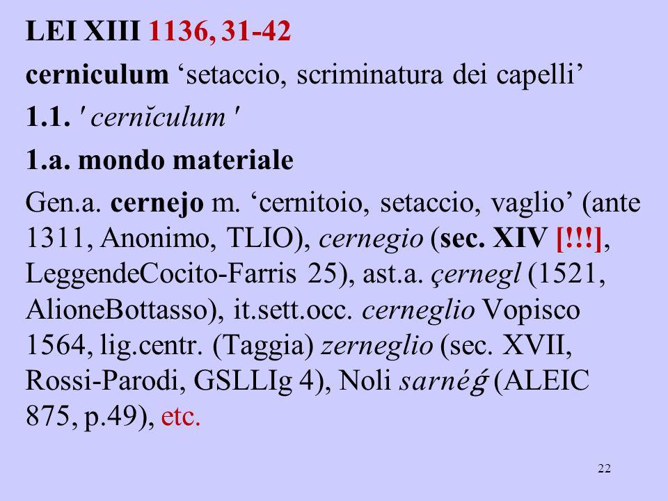 LEI XIII 1136, 31-42 cerniculum 'setaccio, scriminatura dei capelli' 1.1.